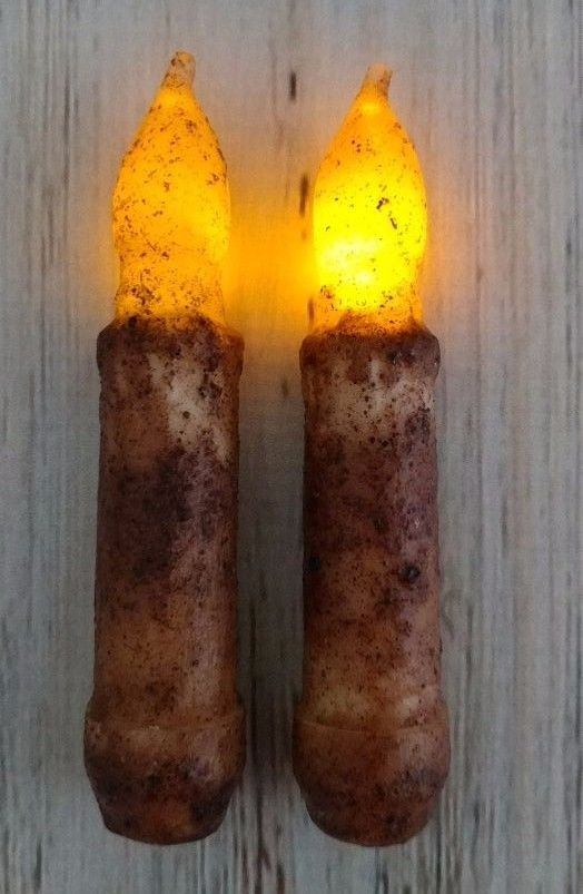 "Flameless Rustic Cinnamon 4"" Flameless Timer Taper Candles  Set of 2"
