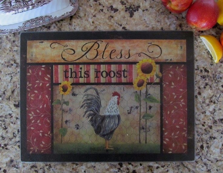 Primitive Country Rooster Glass Art Counter Cutting Board