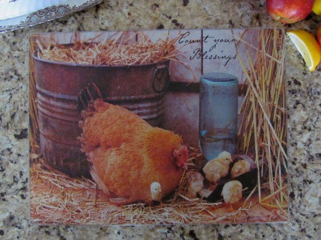 Primitive Country Chicken Glass Kitchen Counter Cutting Board