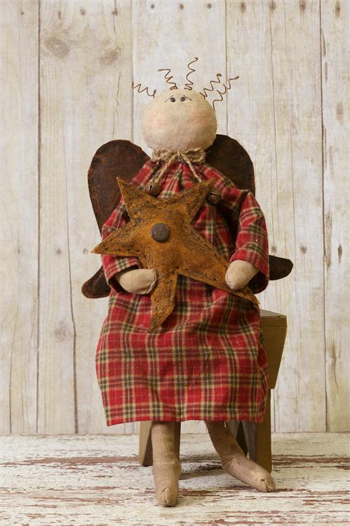 Rustic Sitting Angel with Star - Home Decor Doll
