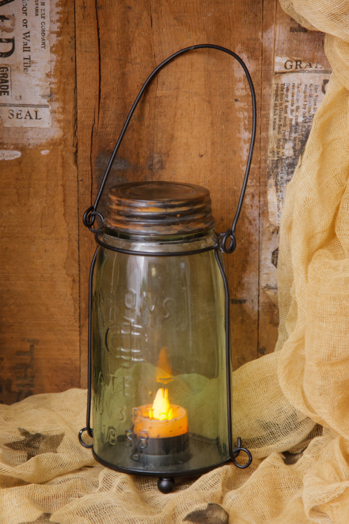 Country Glass Mason Candle Jar Holder for Tealight