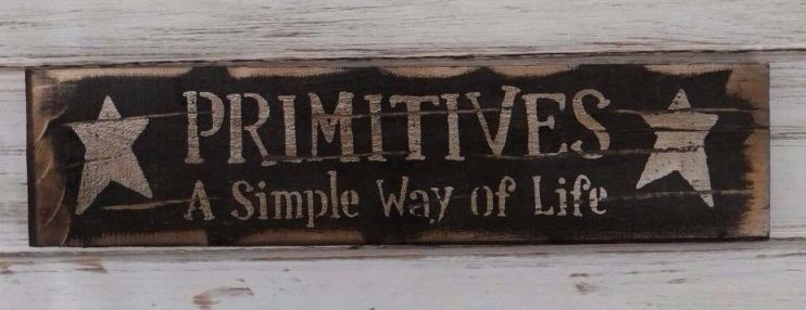 Rustic Primitives Wooden Wall Sign with Stars