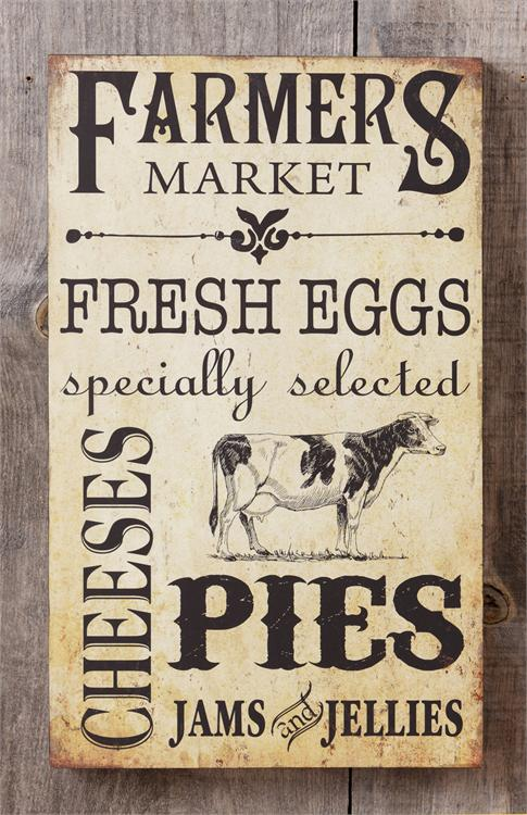 Country Farmhouse Farmer's Market Wooden Wall Sign