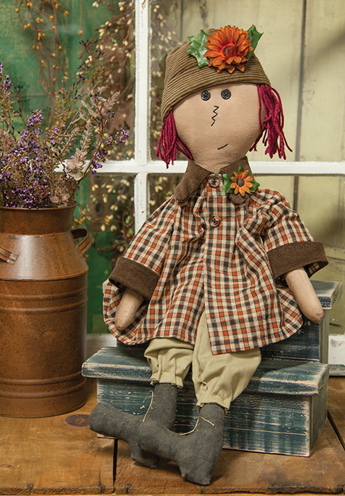 Primitive Country Raggedy Ann Style Home Decor Doll with Flowers