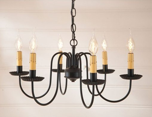 Rustic Sheraton Six Arm Chandelier Light Fixture - Made In USA