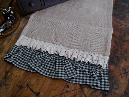 Country Burlap Black Gingham Ruffle Table Runner