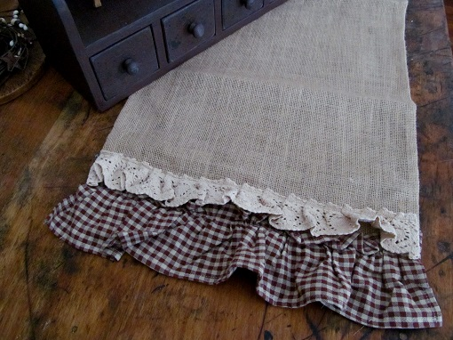 Country Burlap Burgandy Gingham Ruffle Table Runner
