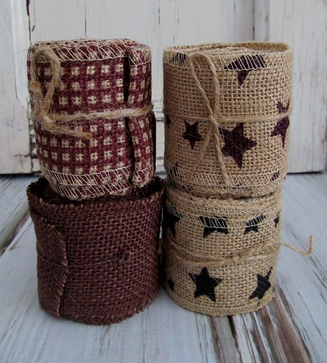 Primitive Country Burlap Decorative Ribbon /  Garland