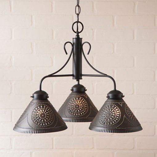 Rustic Barrington Punched Tin Chandelier Light Fixture - Made In USA