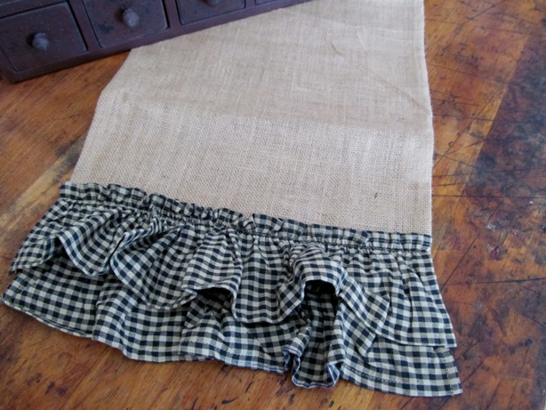 Country Burlap Double Black Gingham Ruffle Table Runner