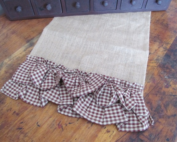 Country Burlap Double Burgandy Gingham Ruffle Table Runner