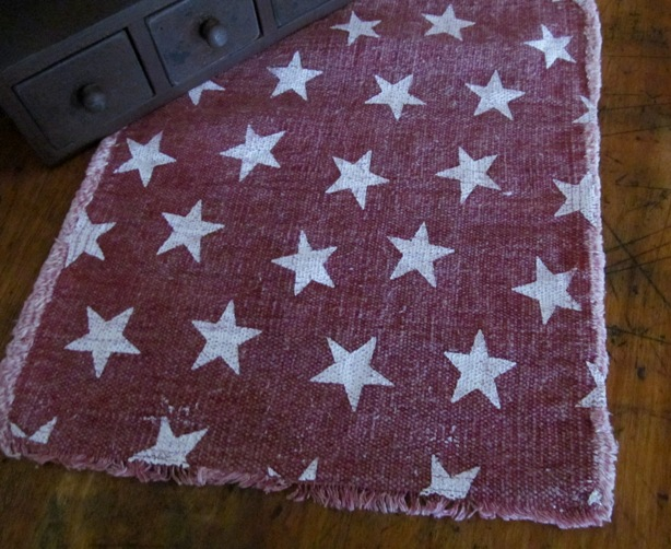 Country Distressed Patriotic Red & White Star Table Runner