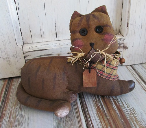 Primitive Country Tabby Kitty Cat Home Decor Fabric Accent