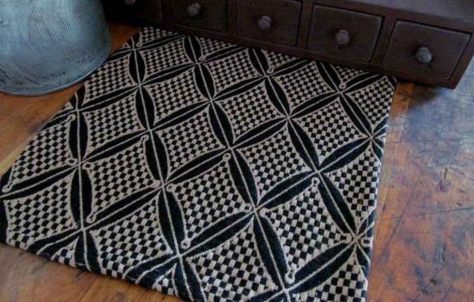 Woodmont Black & Tan Primitive Woven Table Runner