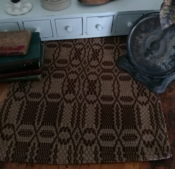 Rustic Farmhouse Woven Shaker Cross Brown and Tan Woven Table Runner