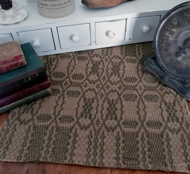 Rustic Farmhouse Woven Shaker Cross Sage and Tan Woven Table Runner