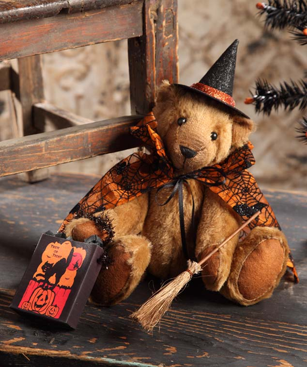 Vintage Inspired Halloween Witch Teddy Bear
