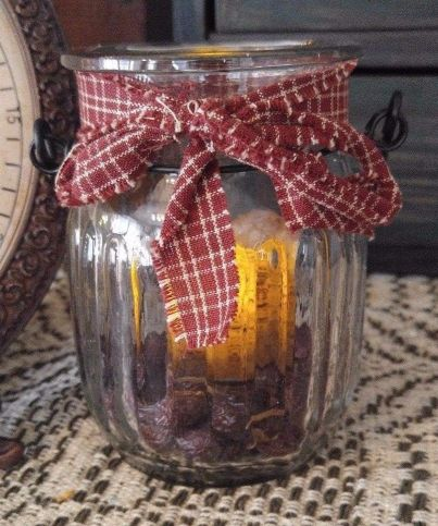 Country Glass Candle Jar Holder