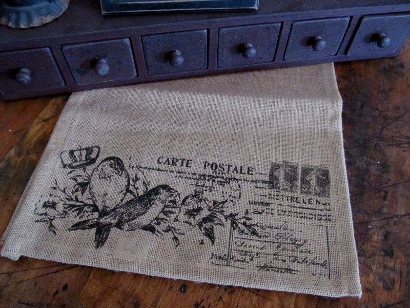 Cottage / French Country / Vintage Inspired Bird Postcard Burlap Table Runner