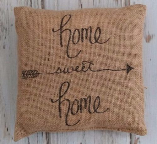 Home Sweet Home Burlap Cottage Farmhouse Home Decor Accent Pillow