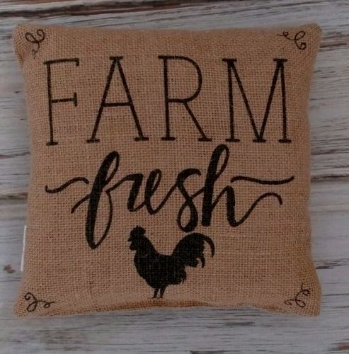 Rustic Farmhouse Farm Fresh Rooster Burlap Home Decor Accent Pillow