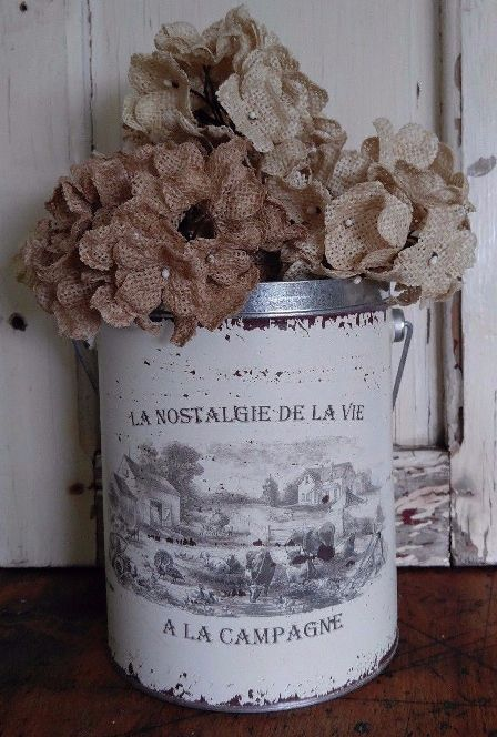 Rustic French Country Farm Decorative Tin / Pail