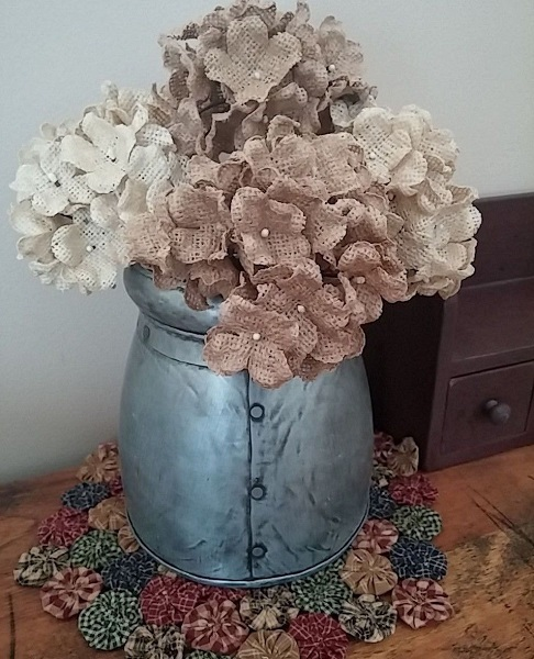 Country Burlap Decorative Hydrangea Floral Pick