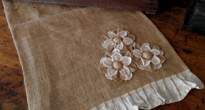 French Country Cottage Flower Burlap Table Runner