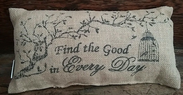 Country Burlap Find the Good... Accent Pillow - Rustic Home Decor
