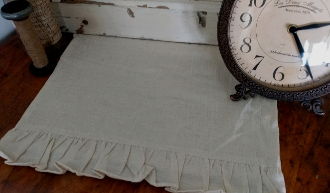 Farmhouse Cottage Flax Ruffled Ivory Table Runner