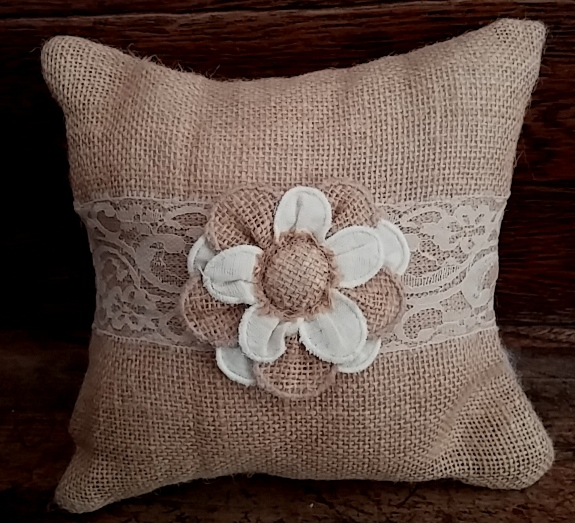 Country Cottage / Shabby Chic Burlap Posy Accent Pillow