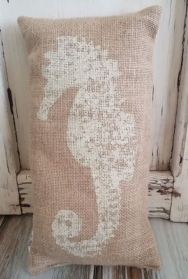 Country Cottage Burlap Seahorse Accent Pillow Lake Home Decor