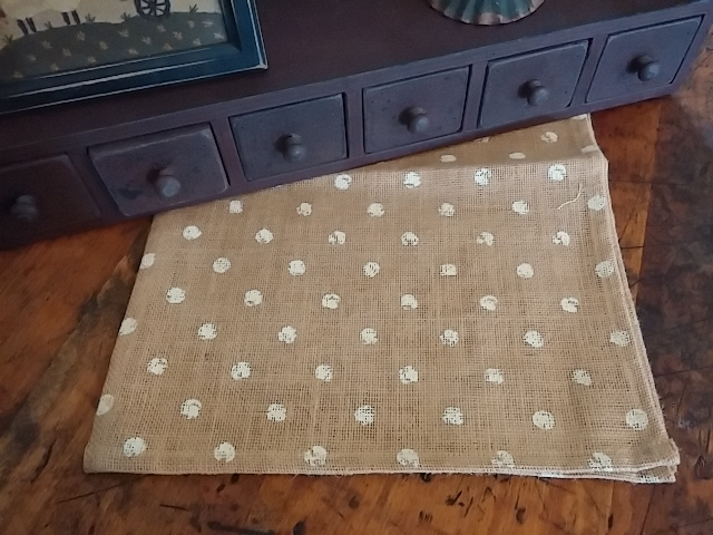Farmhouse / Country Cottage Polka Dot Burlap Table Runner