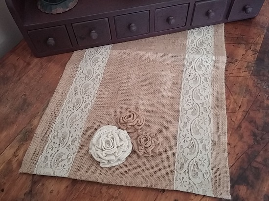 Country Cottage Shabby Chic Lace & Rosette Burlap Table Runner