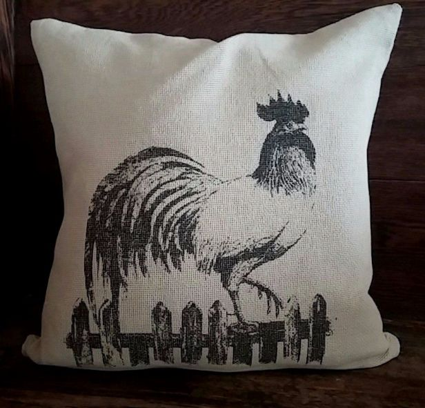 Country Cotton Burlap Rooster Accent Pillow