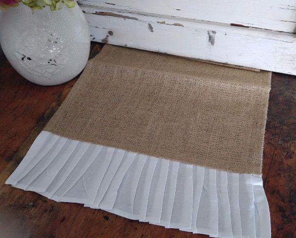 Country Cottage / Farmhouse White Ruffle Burlap Table Runner