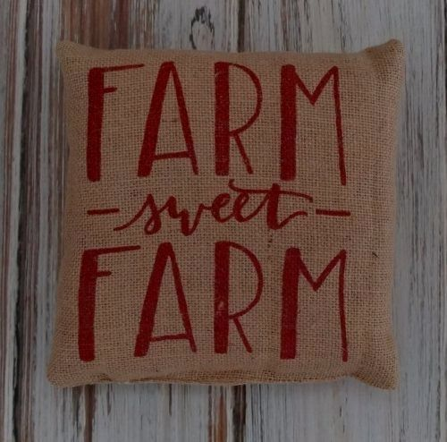 Rustic Farmhouse Farm Sweet Farm Burlap Home Decor Accent Pillow