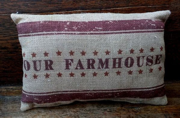 Our Farmhouse Burlap Country Home Decor Accent Pillow