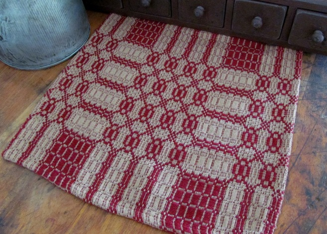 Westbury Cranberry & Tan Primitive Woven Table Runner