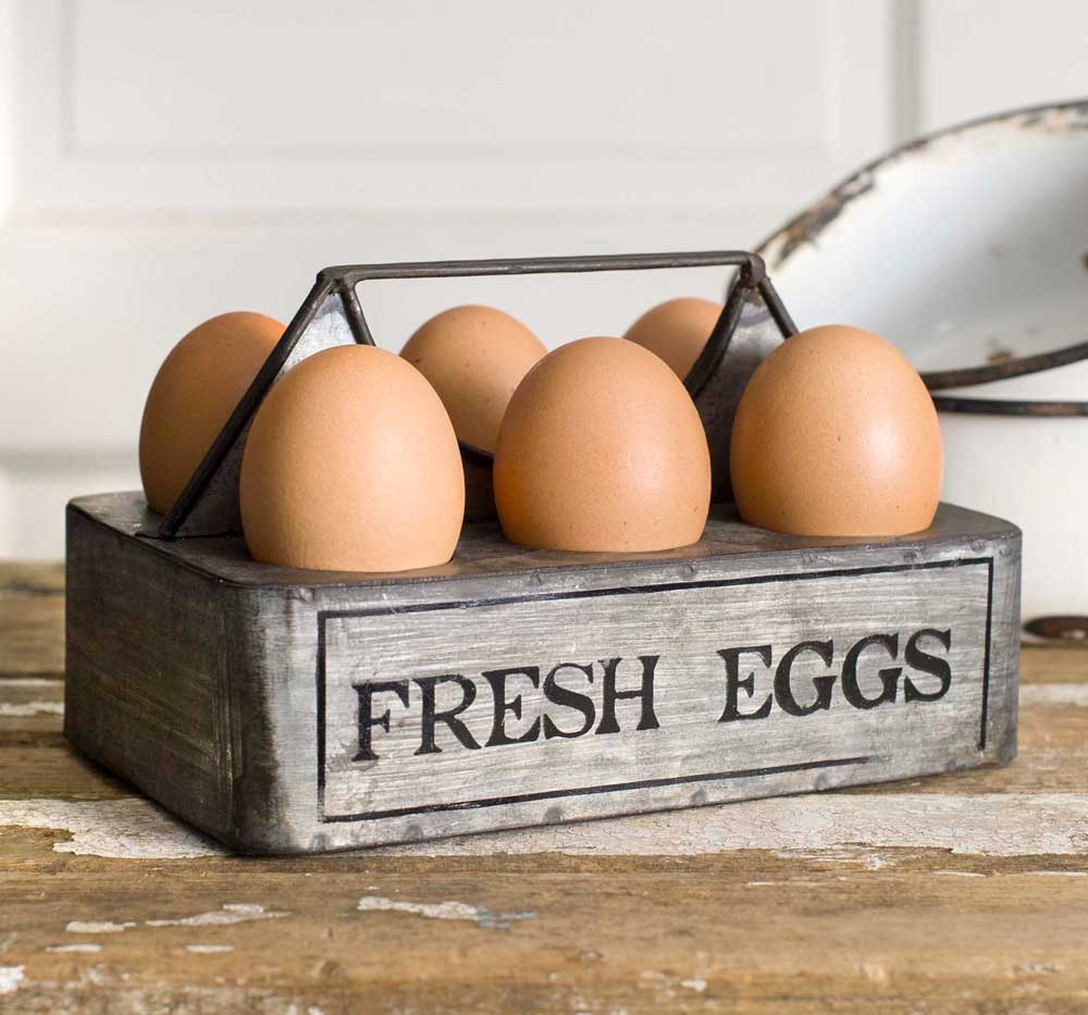 Country Farmhouse Fresh Eggs Metal Caddy
