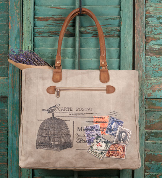 Rustic Canvas and Leather Carte Postal Tote / Handbag / Purse