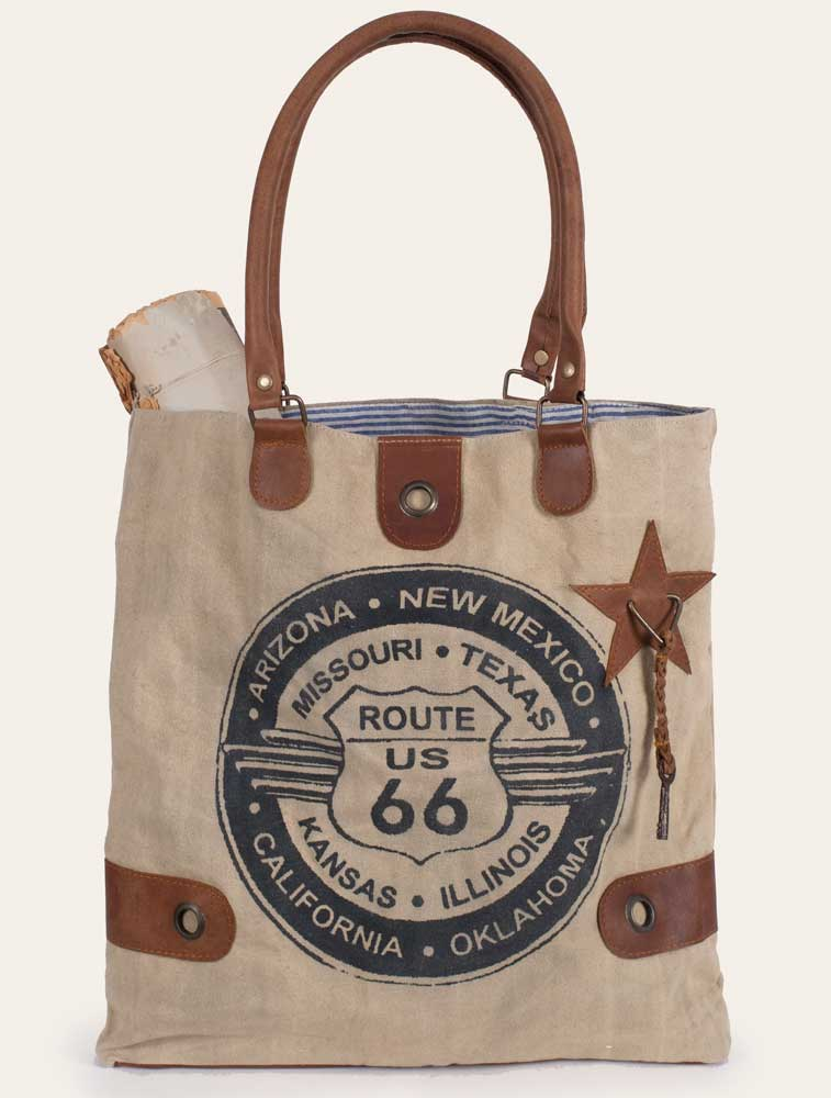 Rustic Canvas and Leather Route 66 Tote / Handbag / Purse