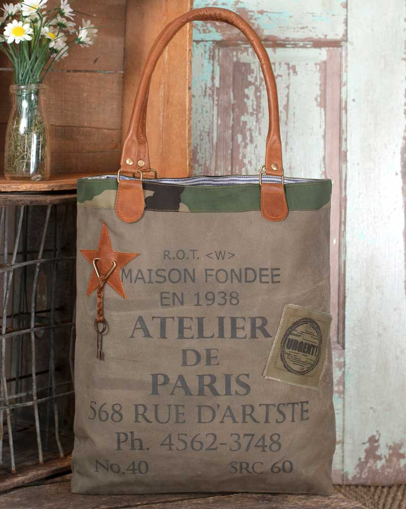Rustic Canvas and Leather Atlier de Paris Tote / Purse with Camouflage Trim