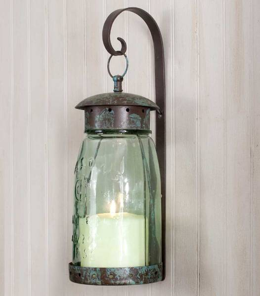 Primitive Farmhouse Quart Mason Jar Hanging Candle Holder Sconce