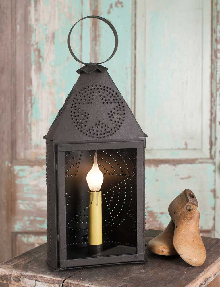 Rustic Farmhouse Black Punched Star Electric Lantern