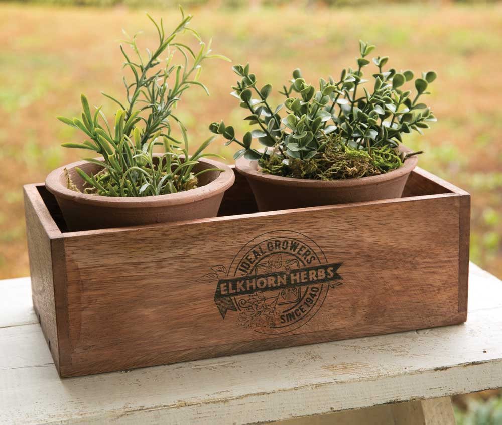 Rustic Wooden Herb Planter Box with Pots - Garden Home Decor Accent