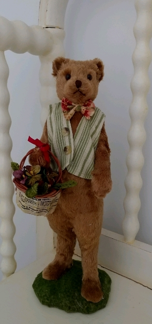 Garden Flower Basket Teddy Bear Figure - Home Decor Accent Piece Bethany Lowe