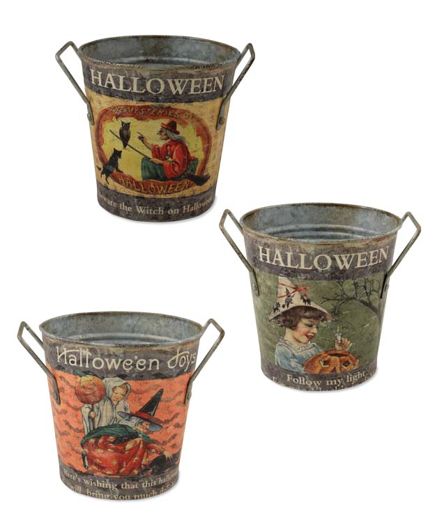 Vintage Inspired Halloween Round Display Bucket