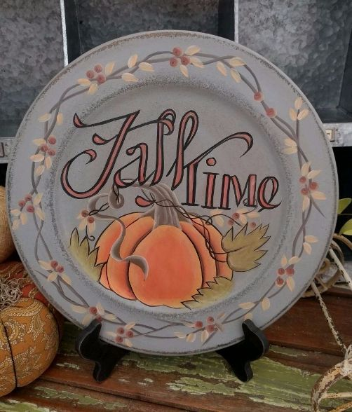 Country Cottage Fall Time Pumpkin Home Decor Plate