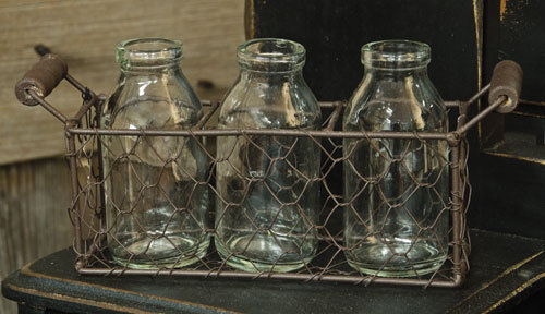 Vintage Inspired Chicken Wire Farm Basket with Cream / Mini Milk Bottles